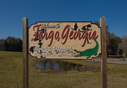 Fargo GA Welcome Sign Gateway to the Okefenokee Photograph Copyright Brian Brown Vanishing South Georgia USA 2015