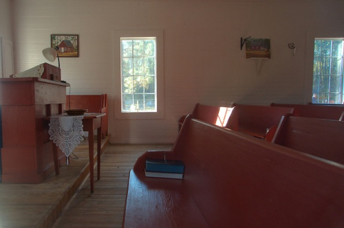 Historic Antioch Methodist Church Interior Clinch County GA Photograph Copyright Brian Brown Vanishing South Georgia USA 2015