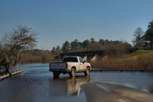 Suwannee River Landing at Fargo GA Truck in High Water Photograph Copyright Brian Brown Vanishing South Georgia USA 2015