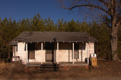Wrightsville GA Johnson County Old Neighborhood Store with Shell Gas Pumps Photograph Copyright Brian Brown Vanishing South Georgia USA 2015