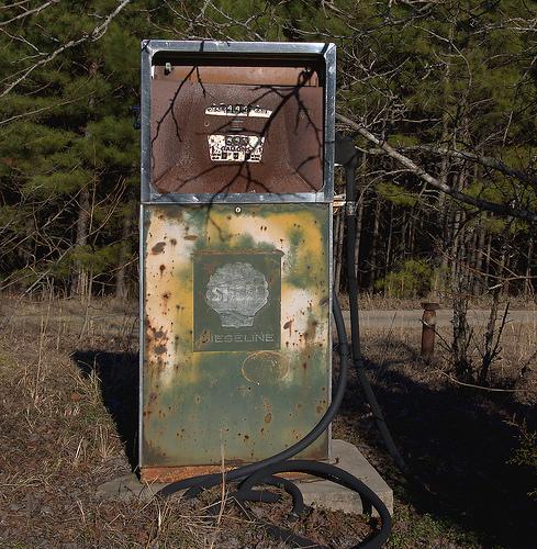 Wrightsville GA Johnson County Old Shell Diesiline Diesoline Gas Pump Photograph Copyright Brian Brown Vanishing South Georgia USA 2015