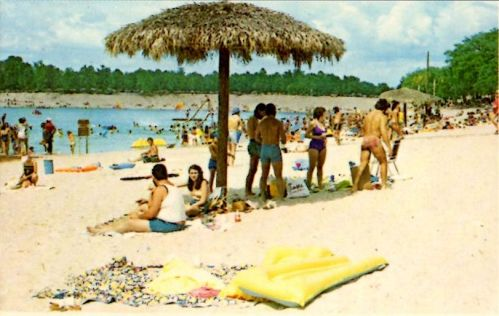 Crystal Lake Irwin County GA Beach Scene 1980s Postcard Photograph