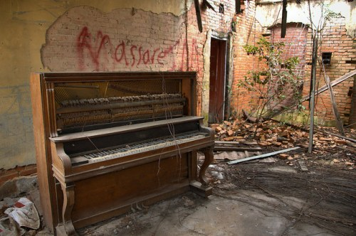 Oakfield GA Abandoned Interior with Piano Photograph Copyright Brian Brown Vanishing South Georgia USA 2015