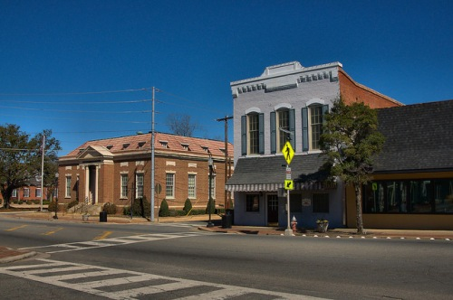 Sandersville GA Historic Downtown Storefronts Photograph Copyright Brian Brown Vanishing South Georgia USA 2015