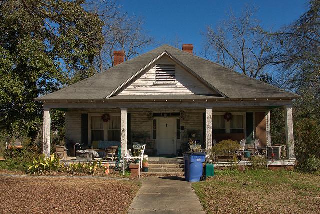 Sandersville GA Pyramidal Roof Neoclassical House Photograph Copyright Brian Brown Vanishing South Georgia USA 2015