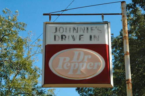 Johnnies Drive In Fitzgerald GA Dr Pepper Sign Photograph Copyright Brian Brown Vanishing South Georgia USA 2015