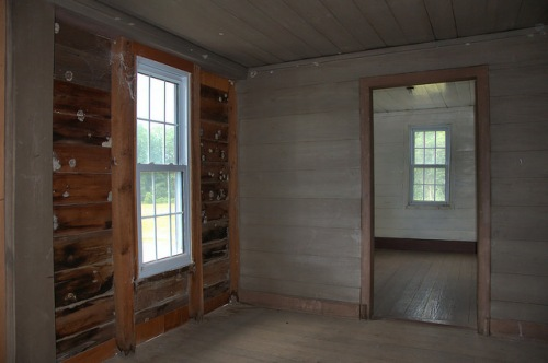 Horne Farm House Antebellum Long County GA Upstairs Hallway Rough Hewn Wall Photograph Copyright Brian Brown Vanishing South Georgia USA 2015