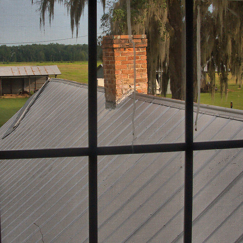 Horne Farm House Plantation Long County GA Kitchen Roof From Upstairs Bed room Photograph Copyright Brian Brown Vanishing South Georgia USA 2015