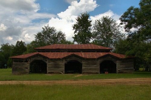 Candler County GA Jim Coleman Triple Garage Barn Eclectic Architecture Photograph Copyright Brian Brown Vanishing South Georgia USA 2015