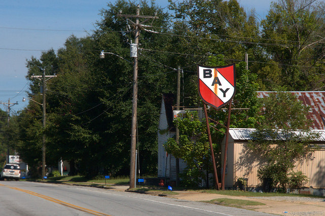Cusseta GA Bay Gasoline Station Sign Photograph Copyright Brian Brown Vanishing South Georgia USA 2015
