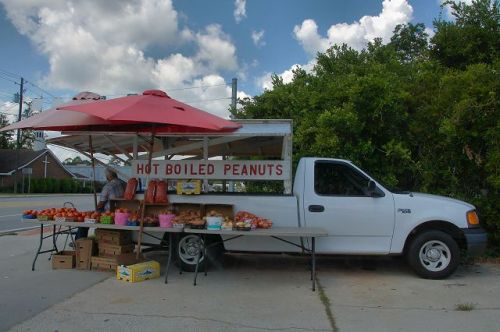 Hot Boiled Peanuts Roadside Vendor Claxton GA Photograph Copyright Brian Brown Vanishing South Georgia USA 2015