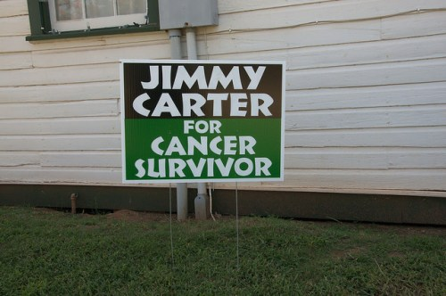 Jimmy Carter for Cancer Survivor Sign at Plains Depot Photograph Copyright Brian Brown Vanishing South Georgia USA 2015