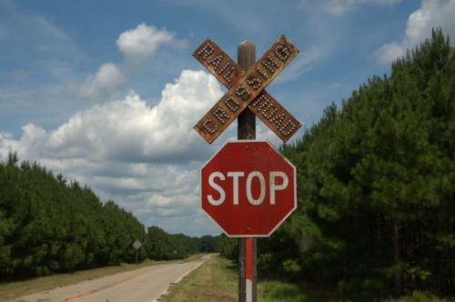 LaCrosse GA Schley County Highway 271 Vintage Railroad Crossing Sign Photograph Copyright Brian Brown Vanishing South Georgia USA 2015