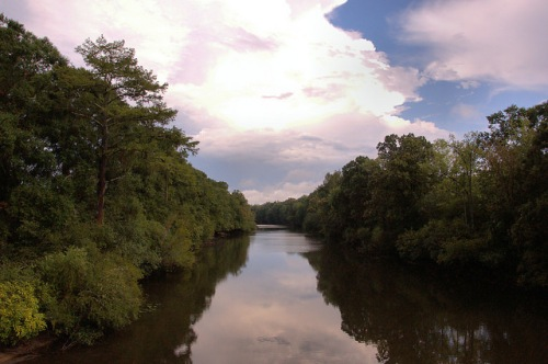 Ogeechee River at Old Ogeechee Road Looking Toward King America Finishing Plant Photograph Copyright Brian Brown Vanishing South Georgia USA 2015