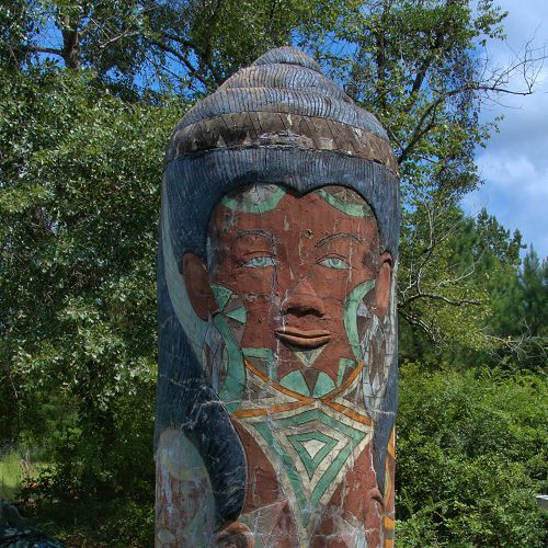 Pasaquan Buena Vista GA Unrestored Totem Outsider Art of St EOM Eddie Owens Martin Photograph Copyright Brian Brown Vanishing South Georgia USA 2015