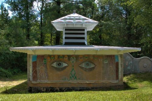 Pasaquan Eddie Owens Martin ST EOM Unrestored Building with Big Eyes Photograph Copyright Brian Brown Vanishing South Georgia USA 2015