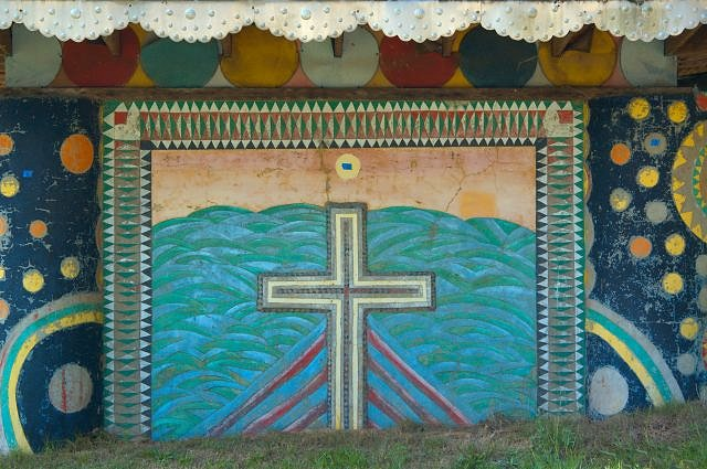 Pasaquan Pagoda Cross Mural Buena Vista GA Eddie Owens Martin St EOM Photograph Copyright Brian Brown Vanishing South Georgia USA 2015