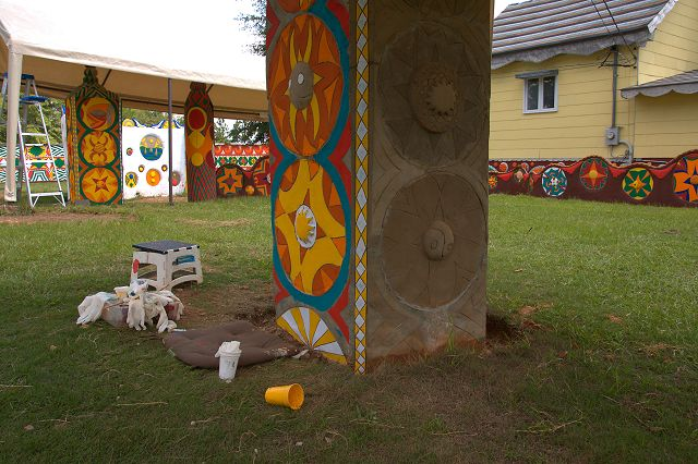 Pasaquan Totem Restoration John Salhus Kohler Foundation Eddie Owens Martin Buena Vista GA Photograph Copyright Brian Brown Vanishing South Georgia USA 2015