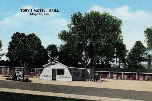 Tobys Motel Grill Alapaha GA Postcard 1950s Vanishing South Georgia USA 2015
