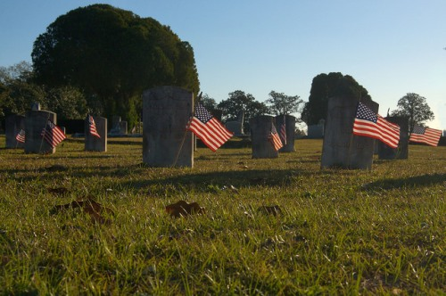 Historic Evergreen Cemetery Fitzgerald GA Union Veterans Graves Decorated for Veterans Day Photograph Copyright Brian Brown Vanishing South Georgia USA 2015