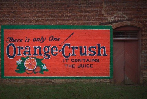 Historic Metcalfe GA Restored Orange Crush Sign Mural Old Cotton Warehouse Photograph Copyright Brian Brown Vanishing South Georgia USA 2015