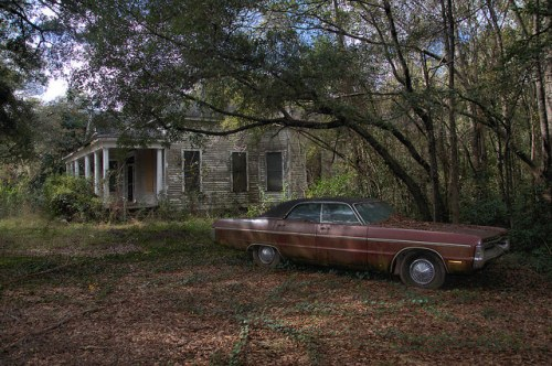 Eastman GA Old House Plymouth Fury III Photograph Copyright Brian Brown Vanishing South Georgia USA 2015