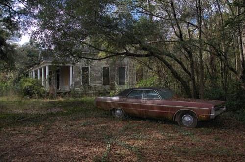 Eastman GA Old House Plymouth Fury III Photograph Copyright Brian Brown Vanishing South Georgia USA 2015