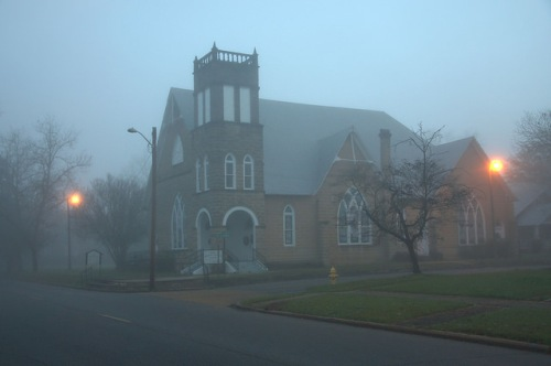 Fitzgerald GA Central Christian Church Faith Bapitst Foggy Christmas Morning Photograph Copyright Brian Brown Vanishing South Georgia USA 2015
