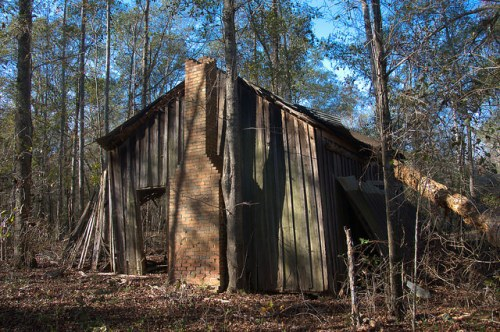 Tattnall County GA Abandoned Board and Batten Tenant Farmhouse Ruins Photograph Copyright Brian Brown Vanishing South Georgia USA 2015