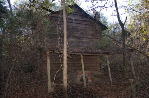 Tattnall County Old Collins Cobbtown Road Log Tobacco Barn Photograph Copyright Brian Brown Vanishing South Georgia USA 2015