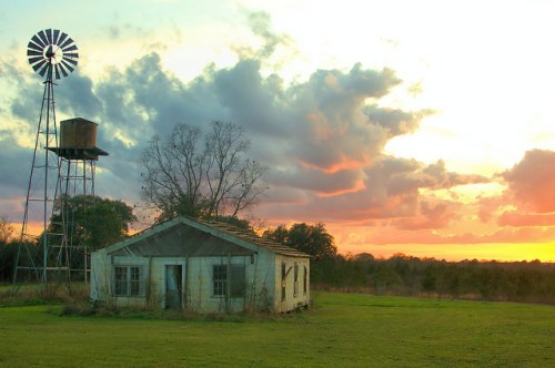 Telfair County GA Smith Farm Windmill Sunset Photograph Copyright Brian Brown Vanishing South Georgia USA 2015
