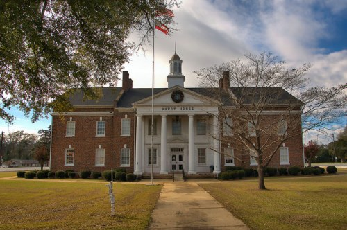 Calhoun County Courthouse Morgan GA Photograph Copyright Brian Brown Vanishing South Georgia USA 2016