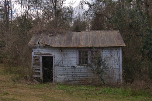 Calhoun County GA Purple Shed Photograph Copyright Brian Brown Vanihsing South Georgia USA 2016