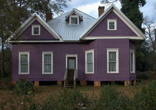 Dawson GA Terrell County Purple Queen Anne Folk Victorian Cottage Photograph Copyright Brian Brown Vanishing South Georgia USA 2016