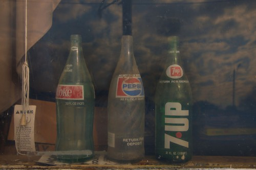 Leary GA Calhoun County Coke Pepsi 7Up Pint Bottles Gas Station Window Photograph Copyright Brian Brown Vanishing South Georgia USA 2016