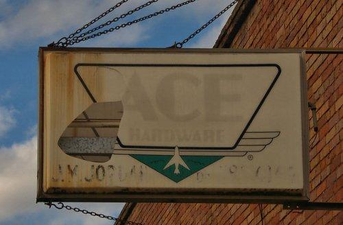 Leary GA Calhoun County Jordan Ace Hardware Sign Photograph Copyright Brian Brown Vanishing South Georgia USA 2016