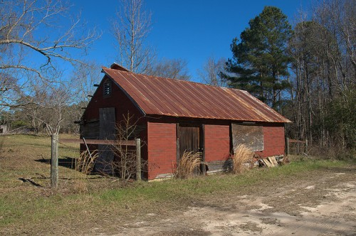Moores Chapel GA Johnson County Red Tar Paper Barn Photograph Copyright Brian Brown Vanishing South Georgia USA 2016
