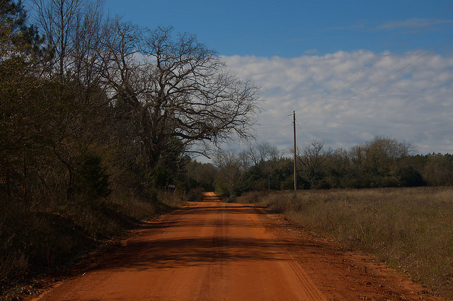Pinkston Road Parrott GA Terrell County Red Dirt Winter Photograph Copyright Brian Brown Vanishing South Georgia USA 2016