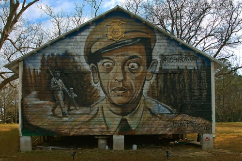 Barney Fife Andy Griffith Show Mural on Farmhouse Broxton GA by Dylan Ross Art Photograph Copyright Brian Brown Vanishing South Georgia USA 2016