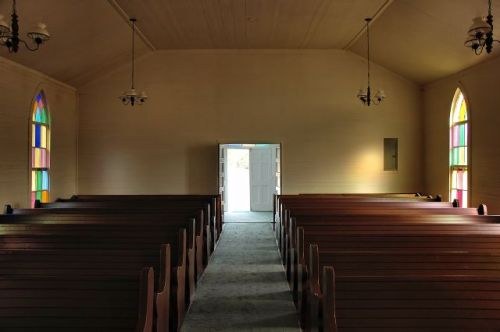 long pond methodist church pews photograph copyright brian brown vanishing south georgia usa 2010