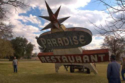 Lowering the Paradise Restaurant Sign Cooperville GA Photograph Copyright Brian Brown Vanishing South Georgia USA 2016