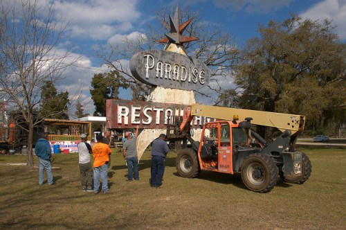 Paradise Restaurant Sign at New Location Cooperville Caboose Restaurant Photograph Copyright Brian Brown Vanishing South Georgia USA 2016