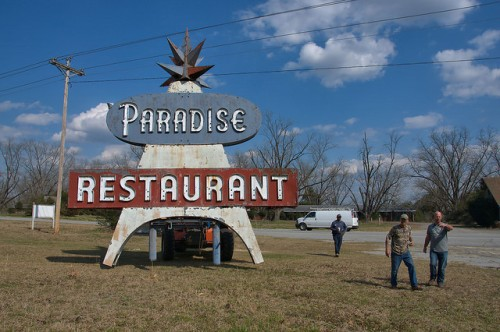 Paradise Restaurant Sign Cooperville GA Across the Highway Photograph Copyright Brian Brown Vanishing South Georgia USA 2016