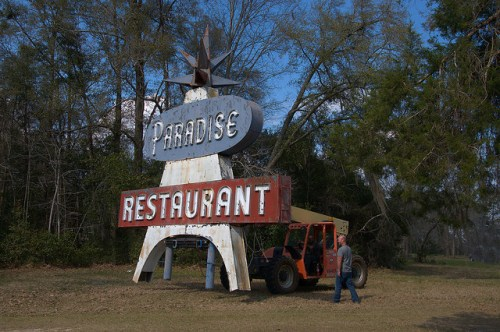 Paradise Restaurant Sign Relocation Cooperville GA Photograph Copyright Brian Brown Vanishing South Georgia USA 2016