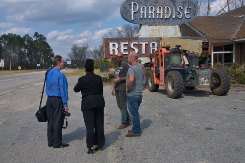 Paradise Restaurant Sign Removal Cooperville GA Photgraph Copyright Brian Brown Vanishing South Georgia USA 2016