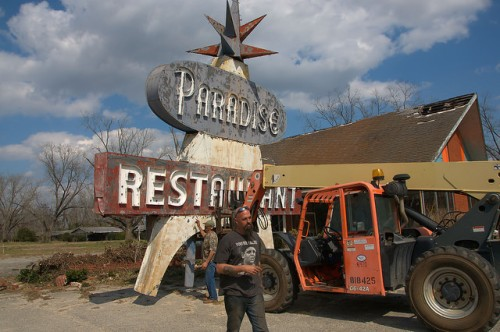 Paradise Restaurant Sign US 301 Cooperville GA Removal Photograph Copyright Brian Brown Vanishing South Georgia USA 2016