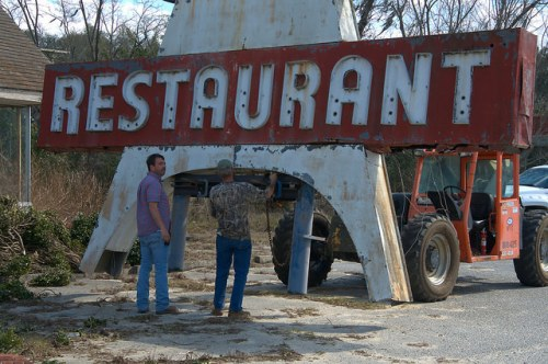 Paradise Restaurant Sign US 301 Cooperville GA Removal to New Location Photograph Copyright Brian Brown Vanishing South Georgia USA 2016