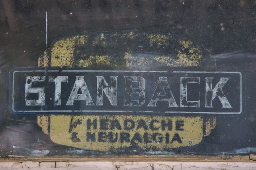 Stanback Headache Powders Neuralgia Window Decal Brownings Store Glenwood GA Photograph Copyright Brian Brown Vanishing South Georgia USA 2016