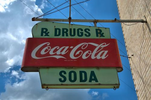 abbeville ga paxsons drug store coca cola fountain sign photograph copyright brian brown vanishing south georgia usa 2016