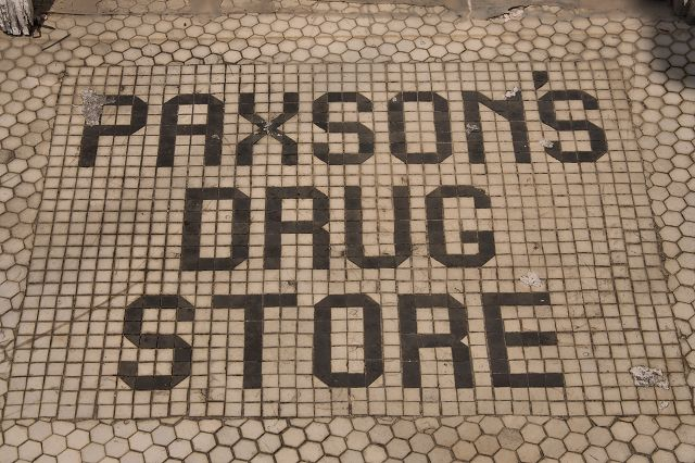 abbeville ga paxsons drug store tile entryway photograph copyright brian brown vanishing south georgia usa 2016